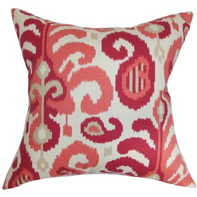 Scebbi Ikat Cotton Throw Pillow Cover Color: Berry