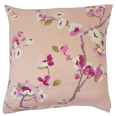 Dashania Floral Linen Throw Pillow Cover Color: Flamingo