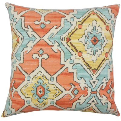 Helia Ikat Cotton Throw Pillow Cover Color: Papaya