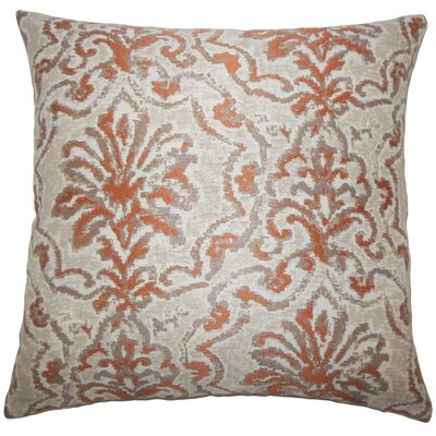 Zain Damask Throw Pillow Cover Color: Melon