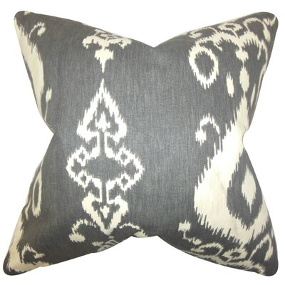 Katti Ikat Cotton Throw Pillow Cover Color: Black