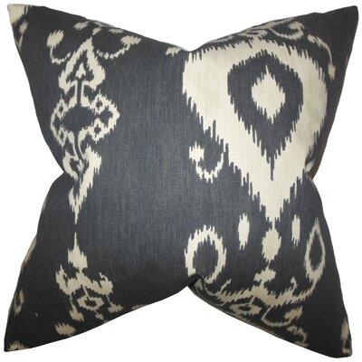 Katti Ikat Cotton Throw Pillow Cover Color: Black Beige