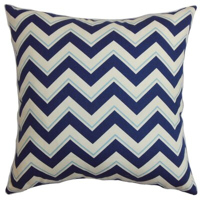 Deion Zigzag Cotton Throw Pillow Cover Color: Navy Blue