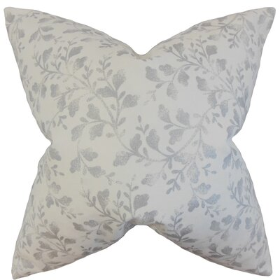 Zola Foliage Cotton Throw Pillow Cover Color: Silver