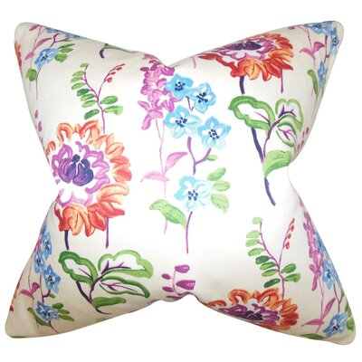 Haley Floral Cotton Throw Pillow Cover Color: Multi