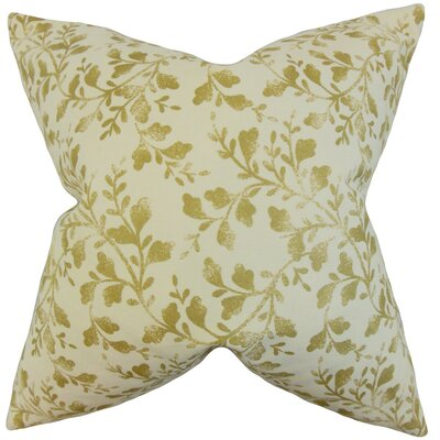 Zola Foliage Cotton Throw Pillow Cover Color: Antique Gold