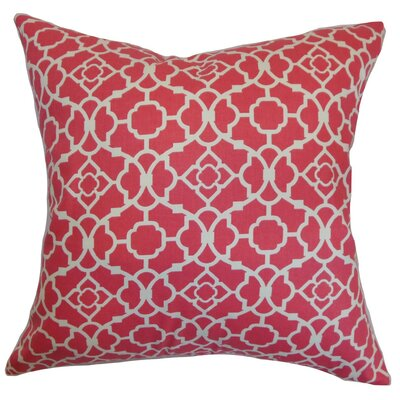 Kalmara Geometric Cotton Throw Pillow Cover Color: Pink