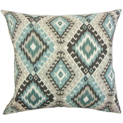 Jinja Ikat Cotton Throw Pillow Cover Color: Turquoise