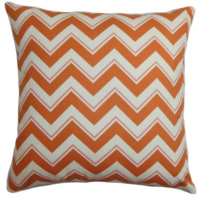 Deion Zigzag Cotton Throw Pillow Cover Color: Orange White