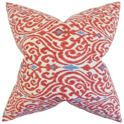 Chantry Ikat Cotton Throw Pillow Cover Color: Red