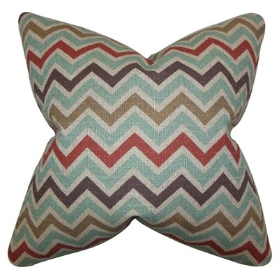 Howel Zigzag Cotton Throw Pillow Cover Color: Canal Green Blue