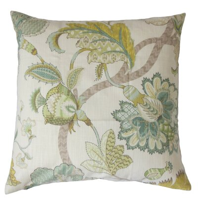 Juhani Floral Cotton Throw Pillow Cover Color: Aqua Green