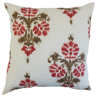 Edwige Ikat Cotton Throw Pillow Cover Color: Red