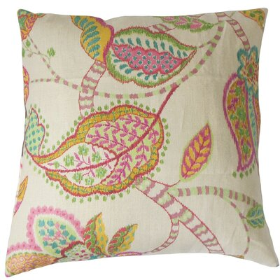 Mazatl Floral Linen Throw Pillow Cover Color: Pink