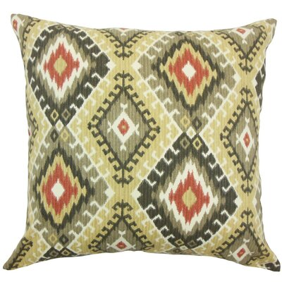 Brinsmead Ikat Cotton Throw Pillow Cover Color: Red Black