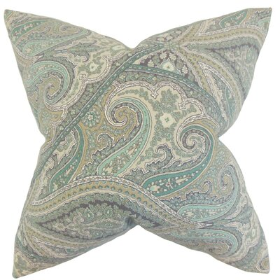 Uma Paisley Cotton Throw Pillow Cover Color: Aquamarine