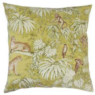 Ender Graphic Cotton Throw Pillow Cover Color: Green