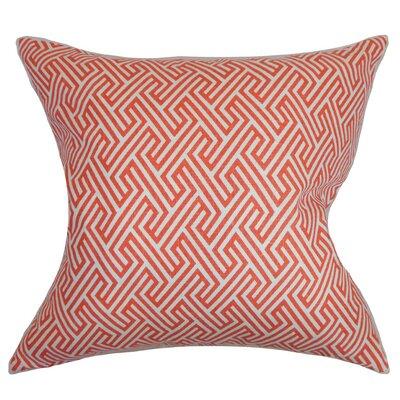 Graz Geometric Cotton Throw Pillow Cover Color: Coral