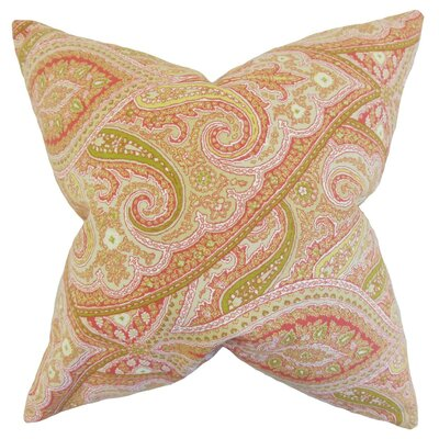 Uma Paisley Cotton Throw Pillow Cover Color: Melon