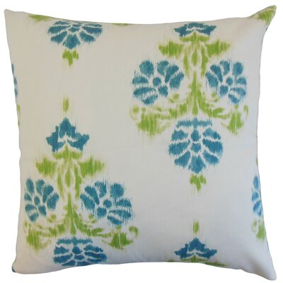 Edwige Ikat Cotton Throw Pillow Cover Color: Aqua Green