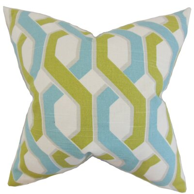 Chauncey Geometric Cotton Throw Pillow Cover Color: Aqua Green