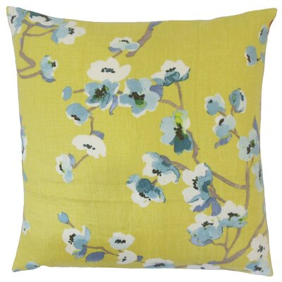 Dashania Floral Linen Throw Pillow Cover Color: Peridot