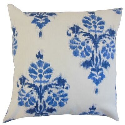 Edwige Ikat Cotton Throw Pillow Cover Color: Blue