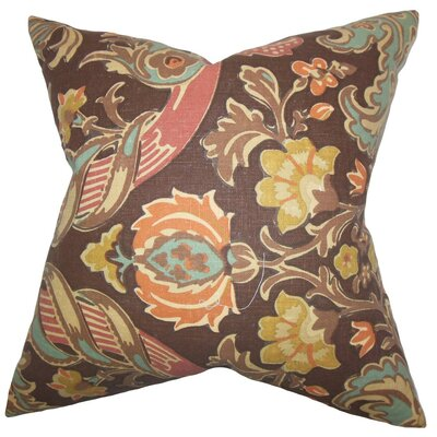 Kiriah Floral Linen Throw Pillow Cover Color: Espresso