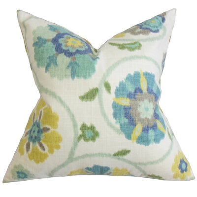 Aspendale Floral Cotton Throw Pillow Cover Color: Blue