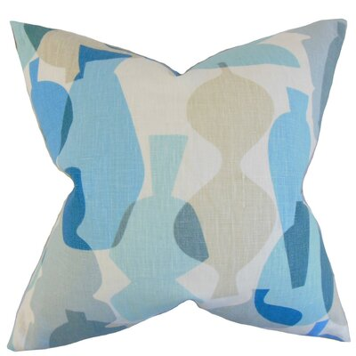 Burdett Geometric Linen Throw Pillow Cover Color: Surf