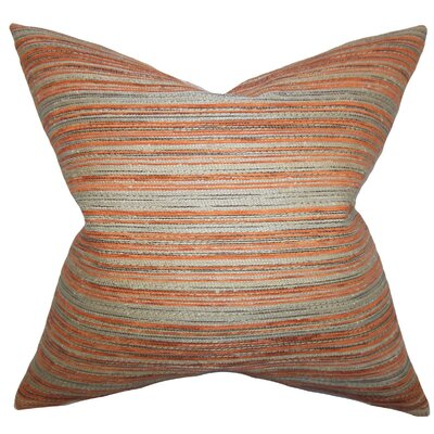 Bartram Stripes Throw Pillow Cover Color: Orange