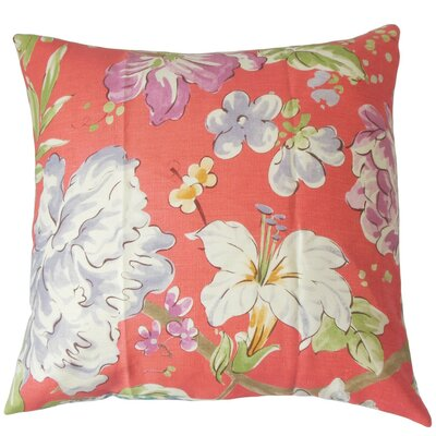 Niatohsa Floral Linen Throw Pillow Cover Color: Flamingo