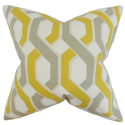 Chauncey Geometric Cotton Throw Pillow Cover Color: Yellow