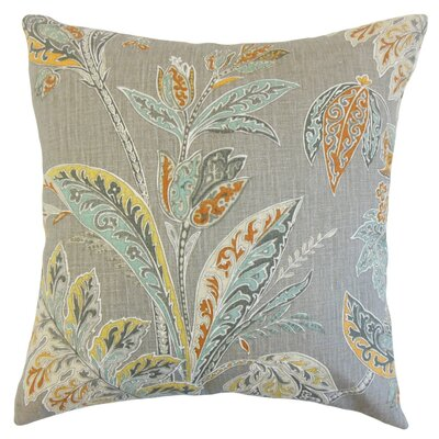 Taja Floral Linen Throw Pillow Cover Color: Turmeric
