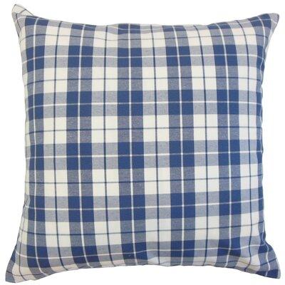 Joss Plaid Cotton Throw Pillow Cover Color: Navy
