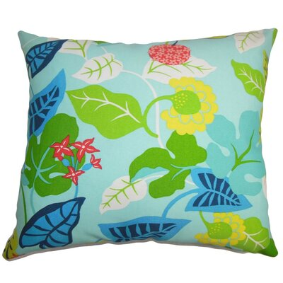 Roseland Floral Outdoor Linen Throw Pillow Cover Color: Turquoise Green