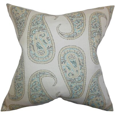 Amahl Paisley Throw Pillow Cover Color: Blue