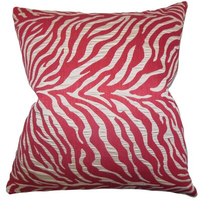Helaine Zebra Print Throw Pillow Cover Color: Red
