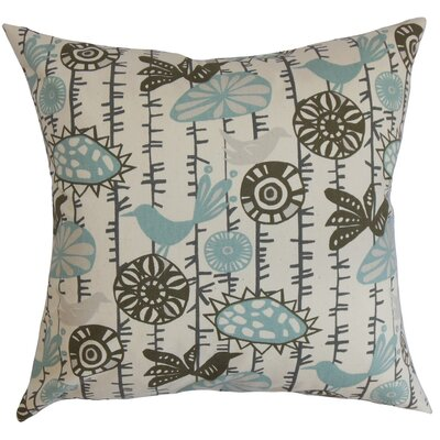 Patterson Floral Cotton Throw Pillow Cover Color: Blue Natural