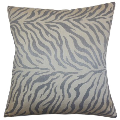 Helaine Zebra Print Throw Pillow Cover Color: Slate
