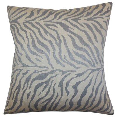 Helaine Zebra Print Throw Pillow Cover Color: Slate