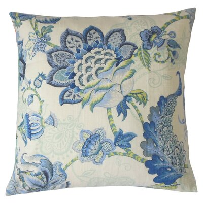 Lieve Floral Throw Pillow Cover Color: Blue