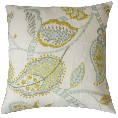 Mazatl Floral Linen Throw Pillow Cover Color: Peridot