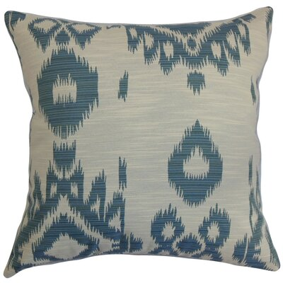 Gaera Ikat Throw Pillow Cover Color: Denim