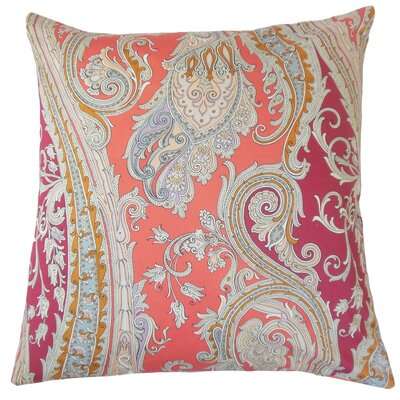 Efharis Paisley Cotton Throw Pillow Cover Color: Coral Reef