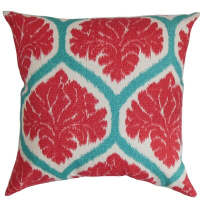 Priya Floral Cotton Throw Pillow Cover Color: Poppy Red