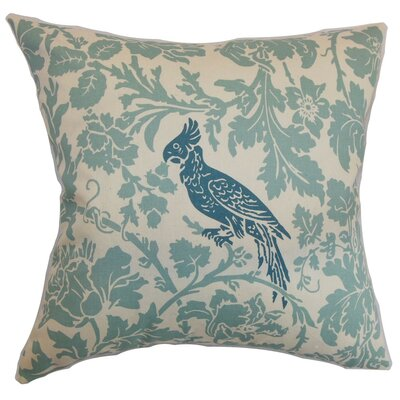 Mandell Floral Cotton Throw Pillow Cover Color: Pepton Blue