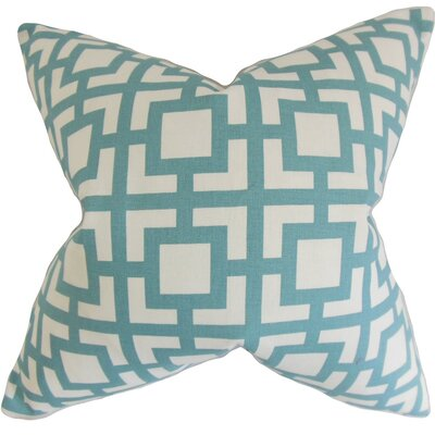 Callas Geometric Cotton Throw Pillow Cover Color: Light Blue