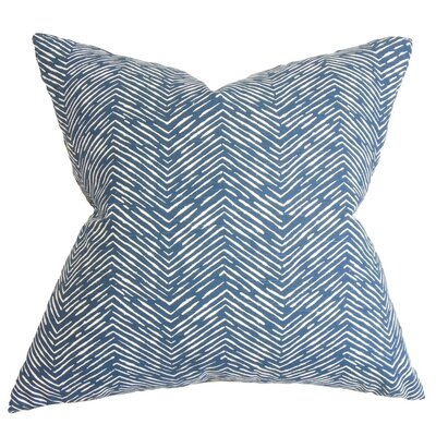 Edythe Zigzag Cotton Throw Pillow Cover Color: Blue