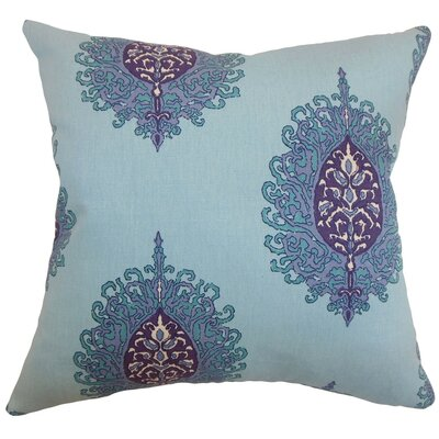 Perigueux Damask Cotton Throw Pillow Cover Color: Aquadisiac